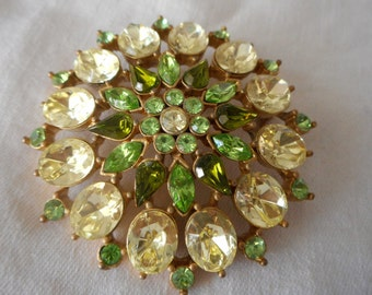 Large VINTAGE Greens & Yellow Rhinestone Round Costume Jewelry Brooch
