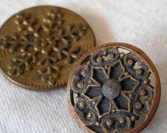 2 ANTIQUE Gold Metal Snowflake & Pierced BUTTONS