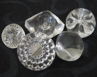 Lot of 5 VINTAGE Clear Glass BUTTONS