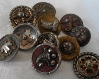 Lot of 11 ANTIQUE Small Metal with Cut Steel BUTTONS