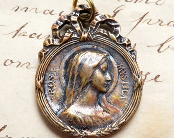 Bronze Virgin Mary Rosa Mystica / Our Lady of Fourviere Medal - Antique Reproduction