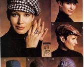 Vogue P901 Accessories Four Hats Cloche Bucket Newsboy Flat Cap Uncut Sewing Pattern 2002
