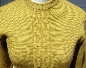 Vintage Ski Sweater 1960s UNISEX Gold Anba of Austria Wool with Braided Infinity Pattern  Small XS