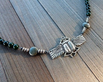 Egyptian Scarab Necklace, Egyptian Revival Jewelry, Winged Scarab Necklace, Scarab Pendant, Egyptian Necklace