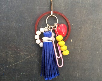 Bead and Tassel Charm Cluster Pendant Key Chain or Purse Zipper Charm Red Blue Yellow Pink