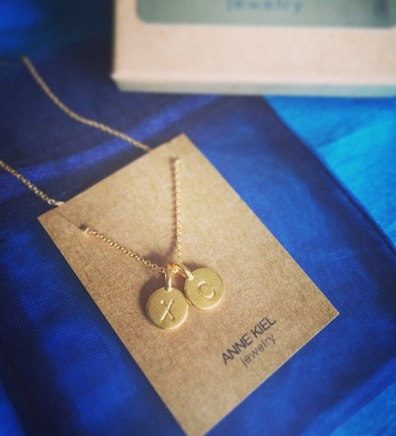 Personalized Two Charm Necklace - 2 Charms Tiny Initial Necklace - 14k Gold Vermeil - Matte Gold Initial Necklace