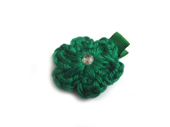 Green Hair Clip Crochet Flower Hair Clip Green Barrette Baby Girl Hair ...