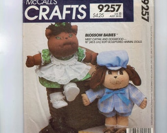 1980s Vintage Craft Sewing Pattern McCalls 9257 Blossom Babies Cattail and Dogwood 16 Inch Soft Sculptured Animal Dolls 1984 80s  99