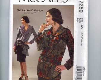 REPRODUCTION Misses Sewing Pattern McCalls M7250 7250 Archive Collection 6995 1920s Style Blouse Size 6 8 10 12 14 16 18 20 22  Multi UNCUT