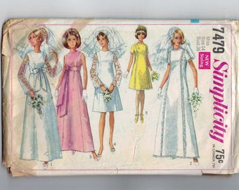 1960s Vintage Sewing Pattern Simplicity 7479 Wedding Bridal Gown Bridesmaid Dress Size 14 Bust 36 1967