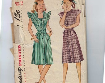 1940s Vintage Sewing Pattern Simplicity 1283 Juniors Dress with Turn Back Sleeves Size 13 Bust 31 1940s