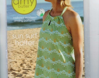 Misses and Girls Amy Butler Midwest Modern Sewing Patterns Sun Surf Halter Top Size XS-XXXL 2-22 Bust 22-48 Girls Size 7-12 UNCUT