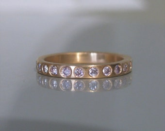 Natural VS Pink Diamond Eternity Band Stacking Stack Ring 14K or 18K Yellow White or Rose Gold All Sizes