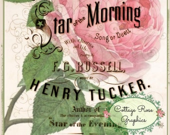 Pink Rose digital download Star of the Morning vintage Music Cover single image ECS buy 3 get one free