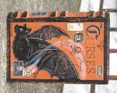 SMALL Vintage Paper Mache Halloween Witch's Book of CURSES Box hand Painted BAT