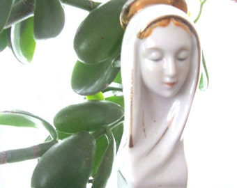 Vintage Virgin Mary Bust Figurine in white and gold