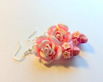 Sugar Skull Earrings Dia De Los Muertos Pink and Yellow Rose Skull Earrings