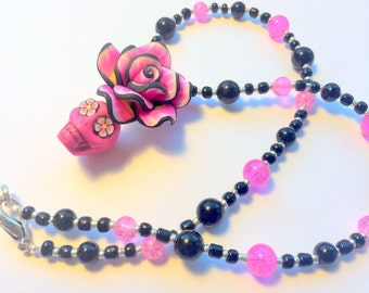 Sugar Skull Necklace Day of the Dead Beaded in Pink and Black