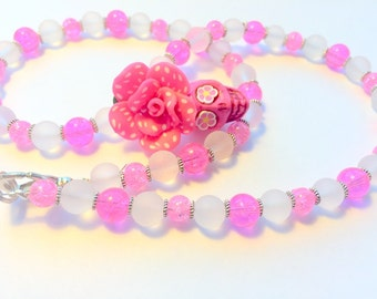 Pretty in Pink Sugar Skull Necklace Day of the Dead Beaded