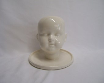White Ceramic Doll Head Vase