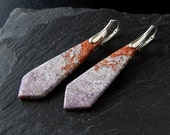 Orange Ocean Jasper Earrings: Sterling silver, gray and orange, silver, lever back earring, leverback, lilac, purple, violet, statement