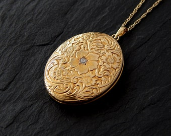 Four Photo Locket: 14k yellow gold, diamond, 18 inch rope chain, 1930s - 1940s jewelry, large floral engraved locket necklace, 34x20mm