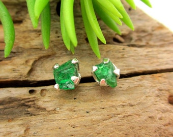 Rough Tsavorite Garnet Earrings in Silver with Genuine Gems, 5mm Fair Trade - Free Gift Wrapping