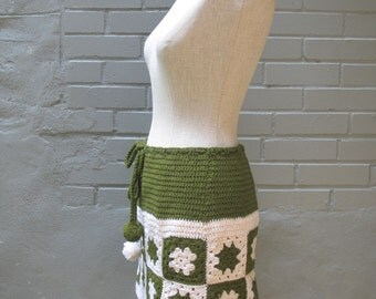 Vintage 70s Granny Squares Mini Skirt w Pom Pom Ties