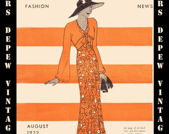 1930's Vintage Sewing Pattern Catalog Booklet Rare Butterick Fashion News  August, 1932 - INSTANT DOWNLOAD