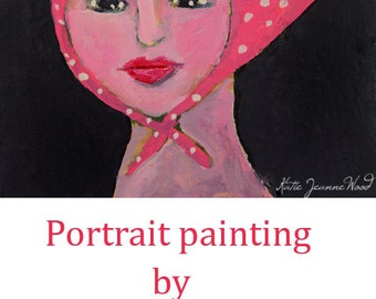 Acrylic Portrait Painting. Mixed Media Collage Art. Girl Face Painting. Pink Kerchief Bandana. White Polka Dots. Small Painting
