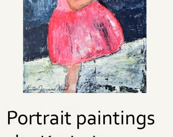 Girl & Bird Art Painting Original. Oil Figure Art Painting. Pink Party Dress Painting. Winter Snow Painting. Handmade Wall Canvas Art