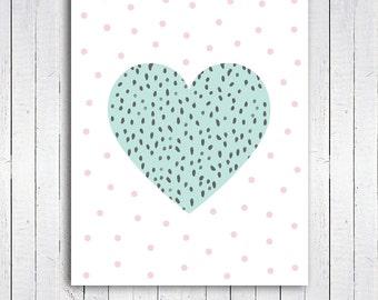 Mint Heart Art Print, 8x10 Polka dot Heart Art Print, Heart wall art, Nursery Print, Kids Room, Instant Download Digital File - 185