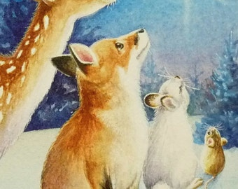 Winter Star Fawn Fox Rabbit Mouse Snow Limited Edition ACEO Giclee Print reproduced from the Original Watercolor