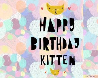 Happy Birthday Kitten card cc157