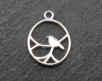Sterling Silver Nightingale Pendant 15mm (CG7645)