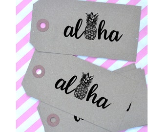 Aloha Pineapple Rubber Stamp - Hawaii Stamp