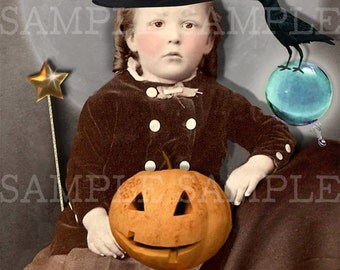 Halloween Vintage Photo Download, No.P45, Altered Photo, Halloween Witch, Instant Download. Witch with wand and crow