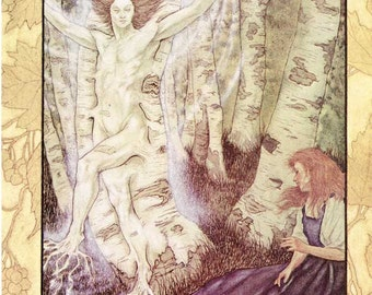 Vintage 1980's Fairy Tale, Dream Fantasy Story  Child's Bookplate Illustration, Print for Framing, The Tree's Wife, Woodland Tree Man