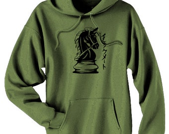 Checkmate Hoodie knight chess piece japanese hoodie goth sweatshirt grunge hipster clothing horse hoodie anime otaku steampunk hoodie