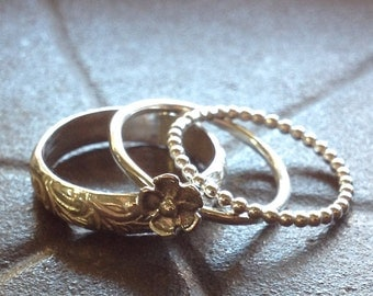 Stacking Rings Sterling SIlver with Flower Bud - Three Ring Set