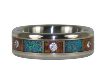 Six Diamond Wedding Band with Koa Wood and Green Opal