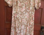 SALE Vintage Pink Flower Summer Dress Size 6 Polyester Rayon Silky 70's Altered Clothes Steampunk