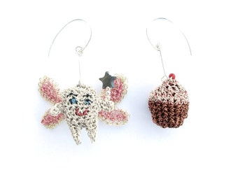 Tooth fairy and cupcake mismatched earrings - food earrings, fairys, crochet wire, sterling silver, cute jewelry, unusual ooak jewelry