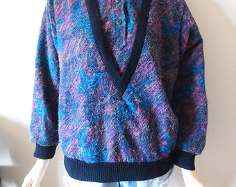 BARB // Vintage 80s Sweater Womens Medium Colorful Print Stranger Things Pullover 1980s Clothing New Wave Collared Batwing Sweater Shirt