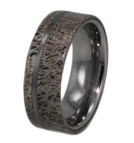 Tungsten Carbide Rings, Deer Antler Ring, Tungsten Ring Inlaid with Deer Antler