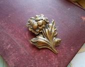 art deco brass vintage antique flower shaped dress clip fur clip  - antique costume jewelry