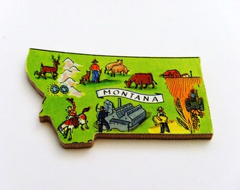 1960s Montana Brooch - Pin / Unique Wearable History Gift Idea / Upcycled Vintage Hand Cut Wood Jewelry / Timeless Gift Under 25