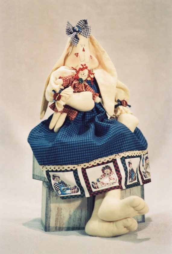 Mailed Cloth Doll Pattern- 18in Raggedy Ann Girl Bunny