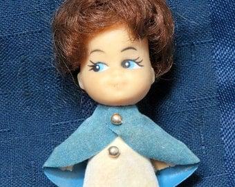 Vintage Kiddle Era Miniature Nurse Doll/ Girl in Blue Cape