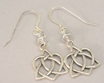 Silver Celtic Heart Trinity Knot Earrings, Silver Irish Earrings, Celtic Earrings, Irish Jewelry, St. Patrick's Day Gift, Ireland Gifts